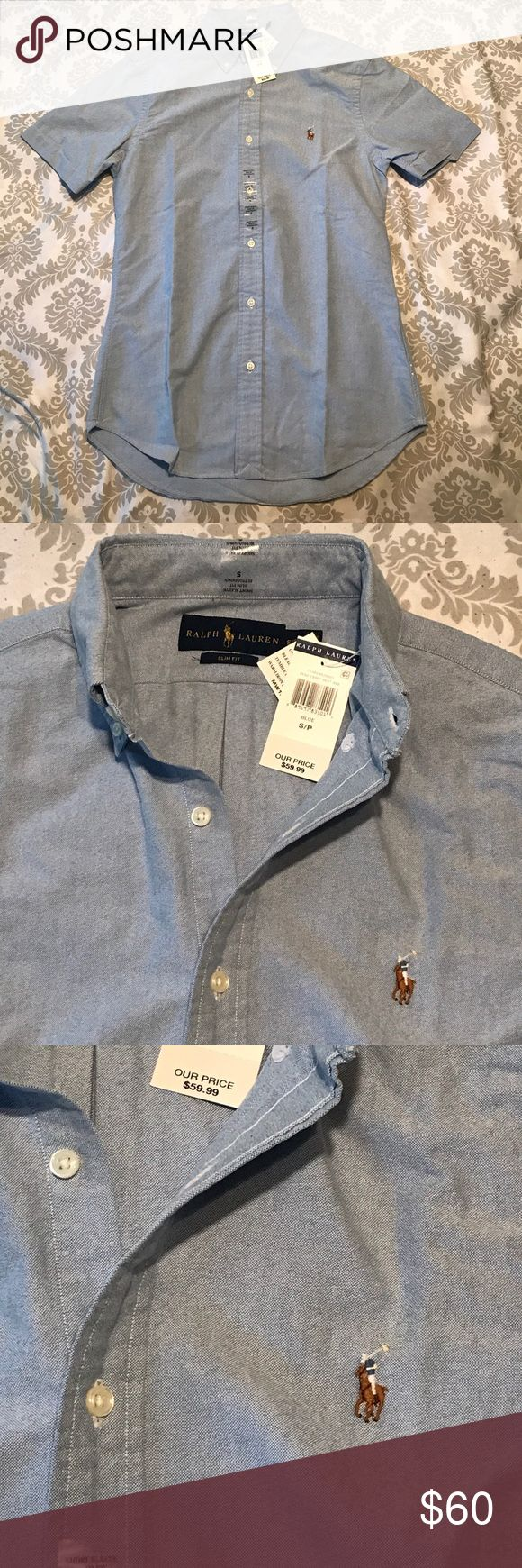 Polo Ralph Lauren Men's shirt sleeve shirt. Size S Polo Ralph Lauren Men's short sleeve, slim fit, button down shirt. Size S. Blue in color. Polo by Ralph Lauren Shirts Casual Button Down Shirts
