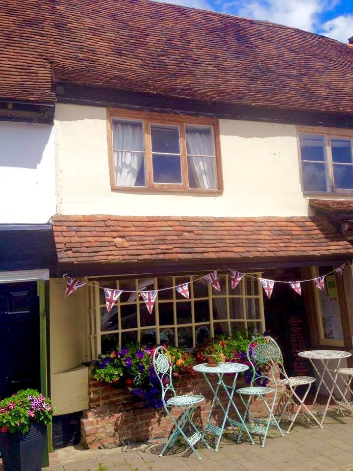 Small historic cafe with original shop front window - Biddenden, England