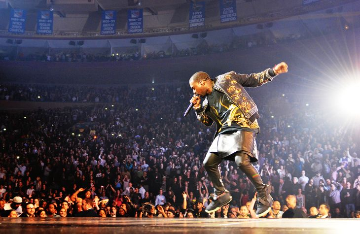 Hip Hop Artist Kanye West in a leather skirt and versace jacket. Time changes fashion rules, even in the rap game;)    www.amihopnow.com