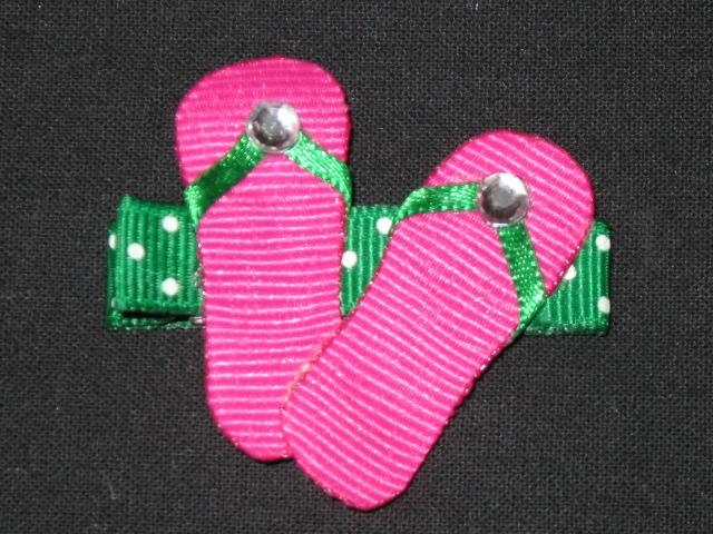 NEW FLIP FLOPS - Pink Girls Ribbon Hairbow Clip Bow Sculpture Beach Pool Water. $3.99, via Etsy.