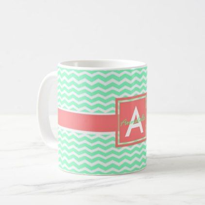 #Mint Coral Chevron Coffee Mug - #office #gifts #giftideas #business