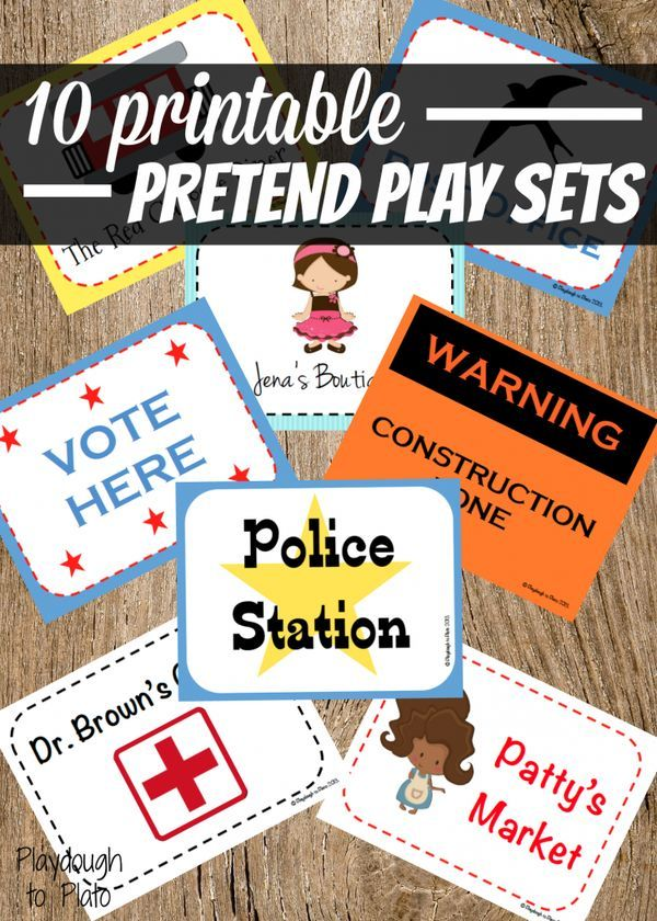 10 Printable Pretend Play Sets. Easy prep dramatic play centers or community units.