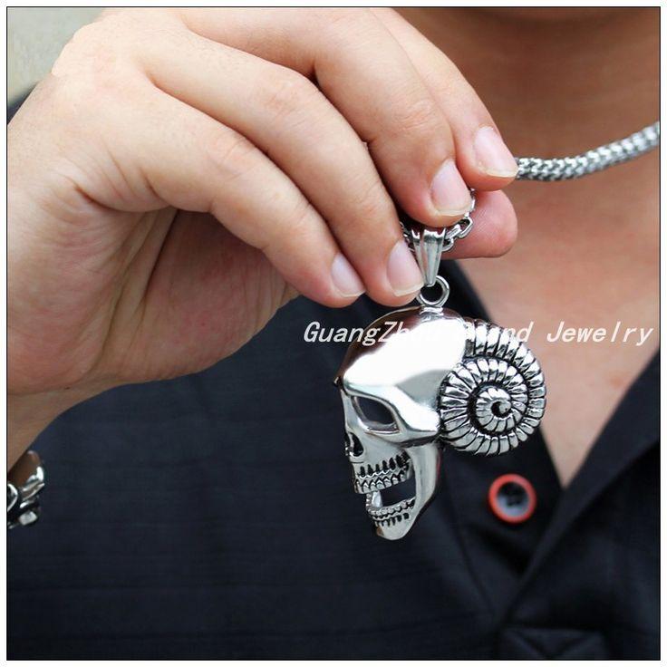 Мода 316L Серебро Нержавеющая Сталь, Полированная Скелет Панк Подвески Ожерелья Для Мужчин Мальчик, Мода Цепи Бесплатно