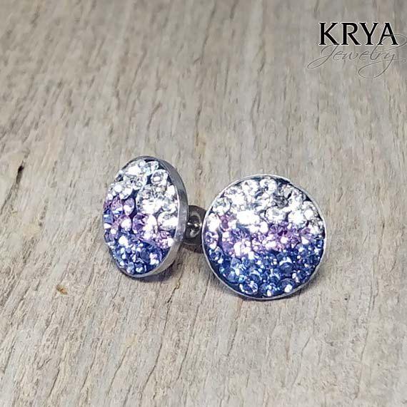 12mm Swarovski Crystal Steel Earrings - Surgical Steel Jewelry - crystal - violet - tanzanite by SteelJewelryShop on Etsy