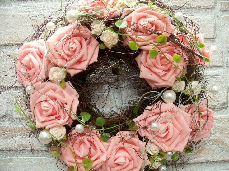 Türkranz,Rosentraum in rosa,romantisch-natürlich von ...die mit den Blumen tanzt... auf DaWanda.com