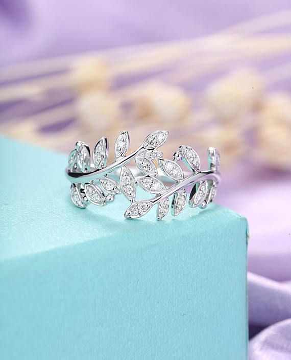 Diamond Cluster Ring Leaf Twig Wedding Ring Unique Engagement ring White gold Marquise Antique Dainty Art Deco Bridal Set Woman Anniversary