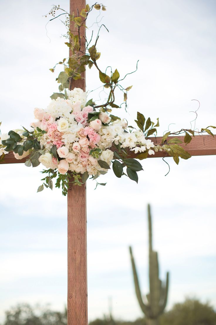 White Chairs Wooden Cross Decorated With Beautiful Florals Of White And Blush Roses Wedding