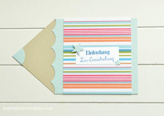 Einladung Zur Einschulung Mit Farbenfrohen Streifen.