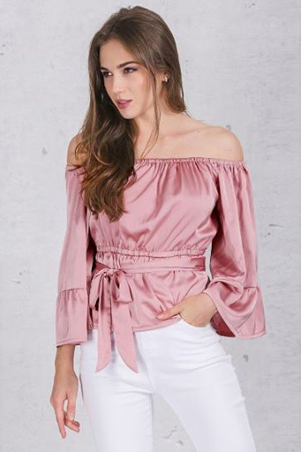a629838ad6cfc Pink Satin Off Shoulder Ruffle Sleeve Top  44. Soft Satin Blouse