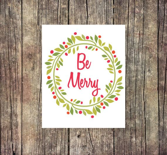 Be Merry  Wreath  Christmas Tree  Digital by ThoughtWorksByAbby
