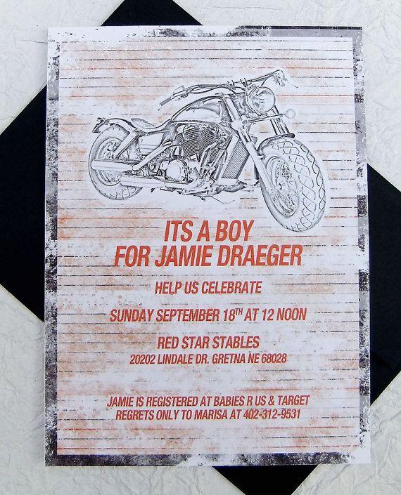 Motorcycle Baby Shower Invitation 25 by emilyedsondesign on Etsy, $40.00