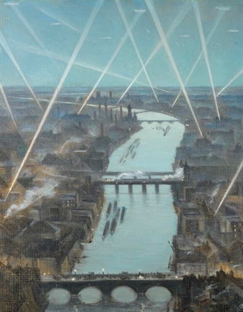 Among the London Searchlights, 1916 by C. R. W. Nevinson (British 1889-1946)