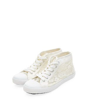 White Lace Panel Lace Up Hi-Top Plimsolls  | New Look