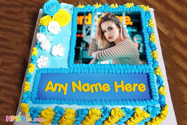 Names and photos on the online birthday cake create