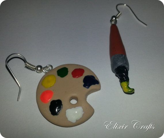 Painters Palette & Paintbrush Earrings / Polymer clay / Miniature earrings