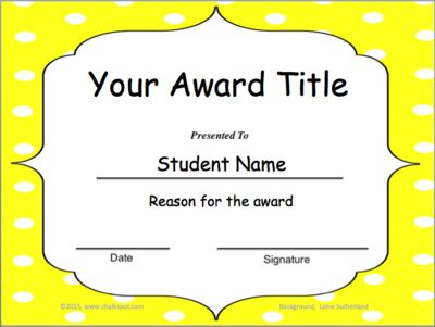 Classroom Awards: Editable (Yellow Polka Dot)—Great for the End of the Year! from Chalkspot.com on TeachersNotebook.com -  (6 pages)  - End of the Year Classroom Award Templates that you can edit! Add your award title, reason, and student name. You can add your own clipart and even add text boxes for the date and signature.