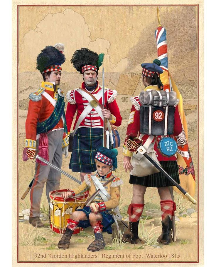 1815 Gordon Highlanders, British, at the Battle of Waterloo. suzilove.com. Absolutely one of may favorite illustrations ever! I think it's the drummer.