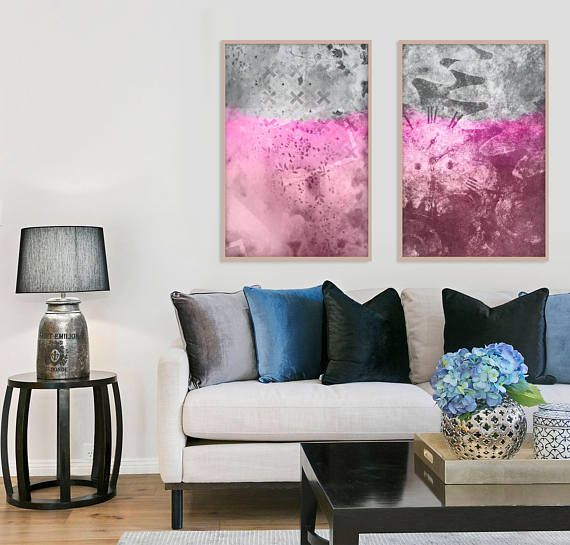 Pink abstract art Pink wall art Set of 2 prints Two large