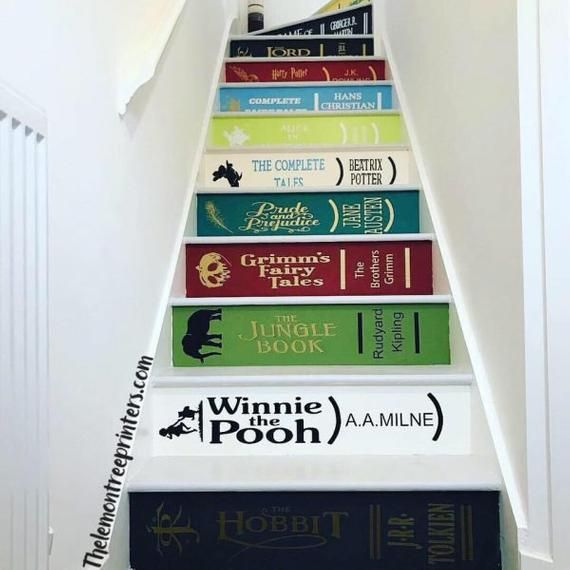 Best Book Spine Stair Riser Decals Customised In 2020 Stair 400 x 300