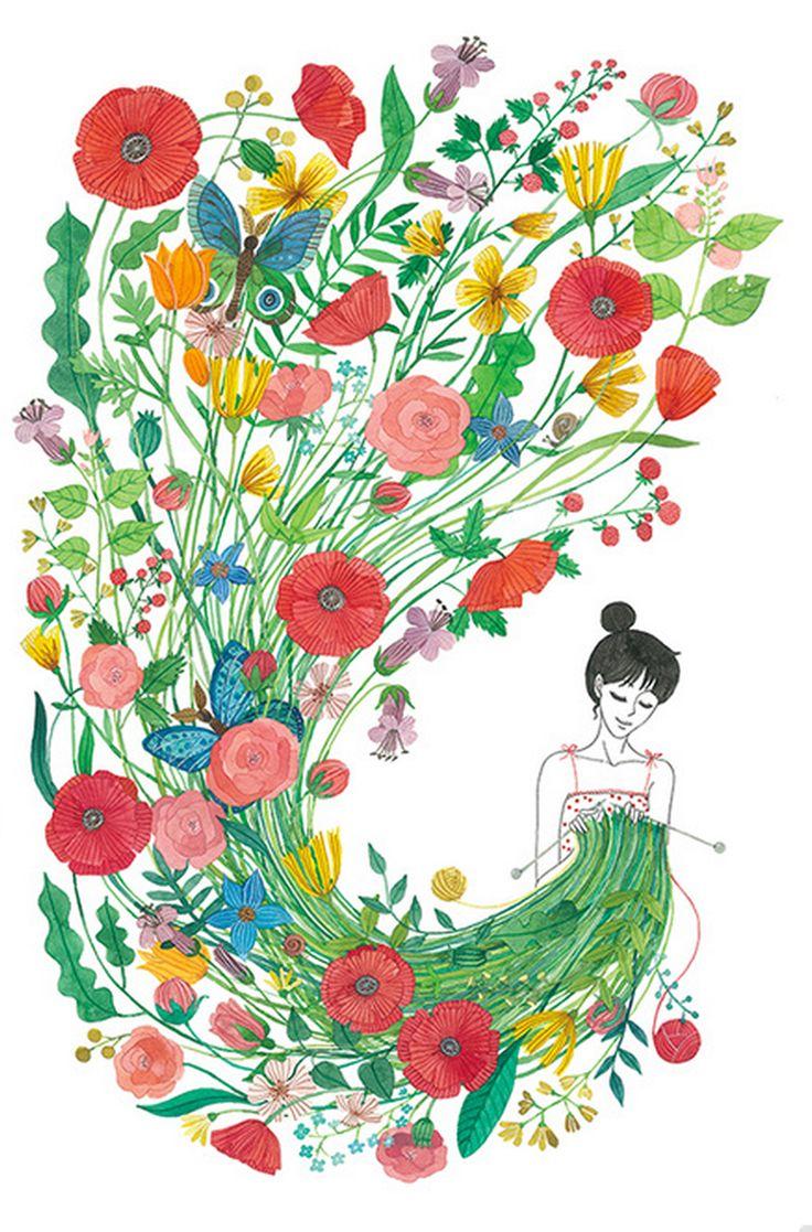 Unida a ti misma en un jardín de crochet.