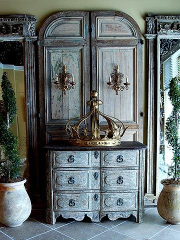 Alhambra Antiques - French I could do without the humungo crown, but LOVE the cabinet!! Actually, this looks like flat doors behind a 6 drawer dresser.