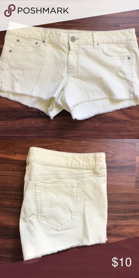 American Eagle light neon yellow shorts size 14 Great for the beach American Eagle light neon yellow shorts size 14 American Eagle Outfitters Shorts Jean Shorts