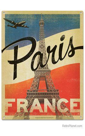 image of Paris Flag Metal Sign