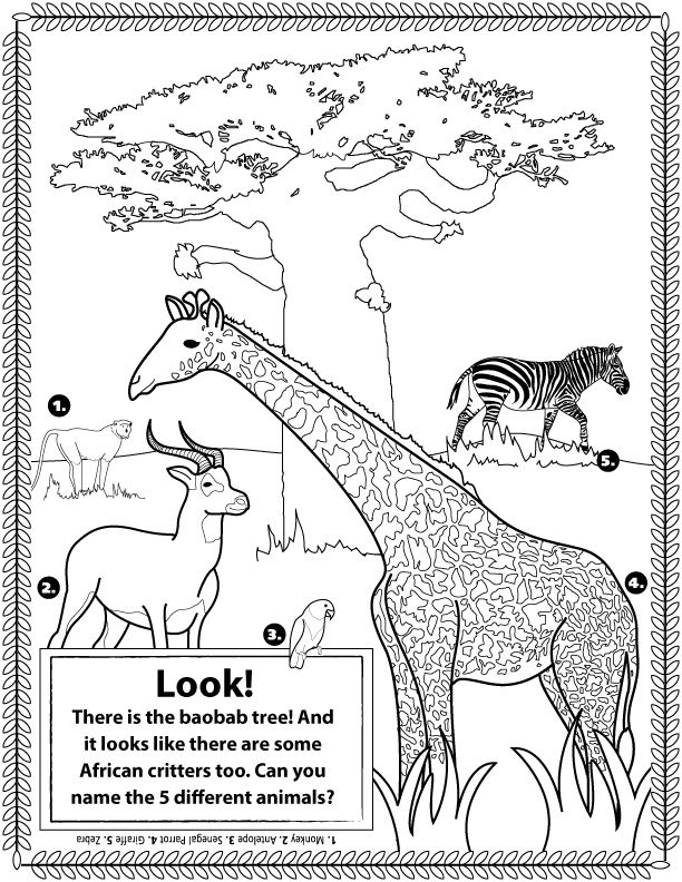 life science coloring pages - african animals doubles as a coloring page