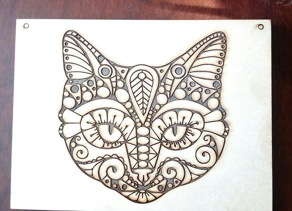 cuadro de gato en grabado láser en madera