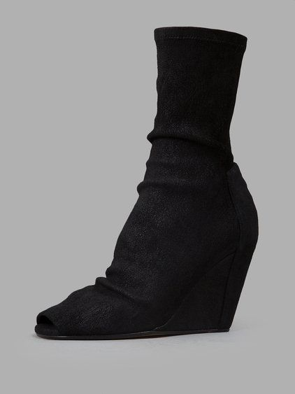 RICK OWENS Rick Owens Women'S Black Open Toe Wedge Boots. #rickowens #shoes #wedges