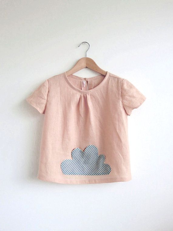 little cloud pocket linen top / blouse / tunic by swallowsreturn, $32.00