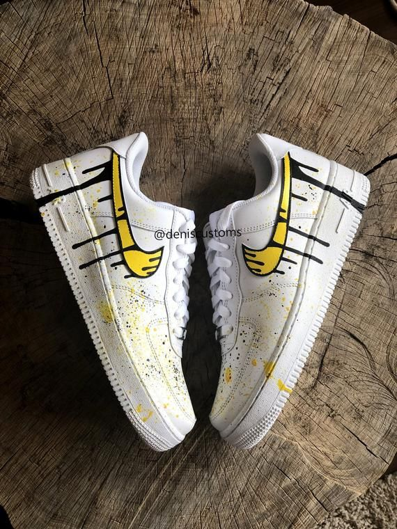 Customized Nike Air Force 1 Low With Yellow Camo And Black Drip Design The Base Shoe Used Is The Nike Air Nike Air Shoes Custom Painted Shoes Decorated Shoes