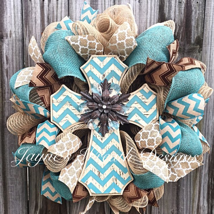 Burlap Wreath with Turquoise Chevron Cross. Great all year Wreath! By Jayne's Wreath Designs on fb and Instagram