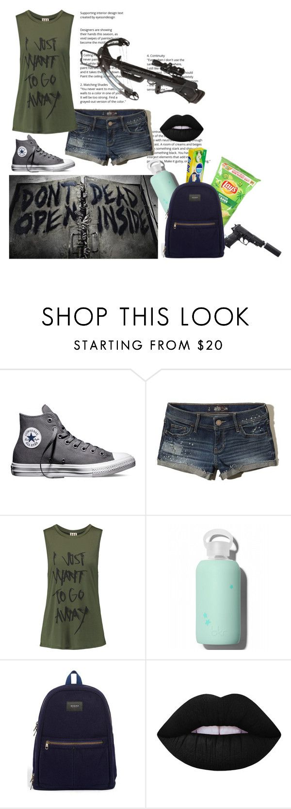 """""""The Leader"""" by ticket-to-ride ❤ liked on Polyvore featuring Converse, Hollister Co., Haute Hippie, bkr, STATE Bags, Lime Crime, thewalkingdead, lays and theleader"""