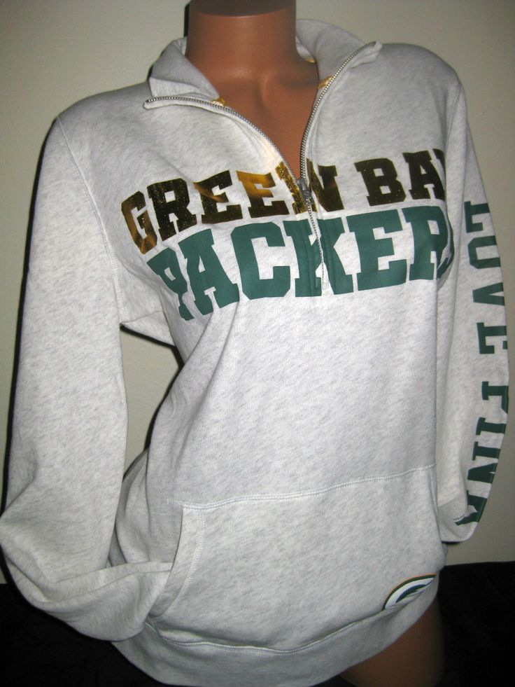 VICTORIA'S SECRET PINK NFL GREEN BAY PACKERS HALF ZIP SWEATSHIRT. yesss Packers<3