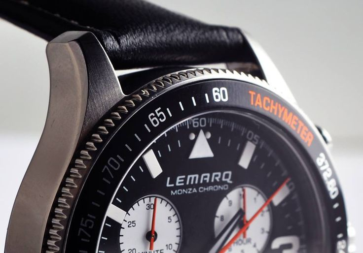 The edge of the LEMARQ Monza Chrono's case is jagged as a reference to the inside of a gearbox. Order here: www.lemarqwatches.com