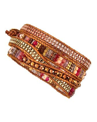 Beaded+Wrap+Bracelet,+Golden/Bronze+by+Nakamol+at+Neiman+Marcus.