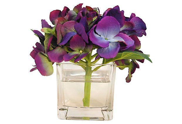 """6"""" Hydrangea in Cube Vase, Faux on OneKingsLane.com"""
