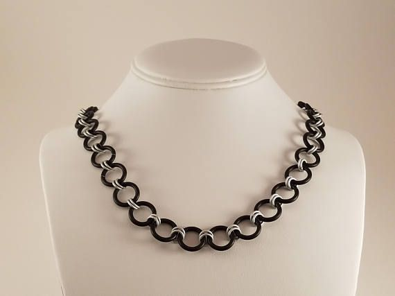 Black and White Chainmail Necklace / Black Chainmail Necklace