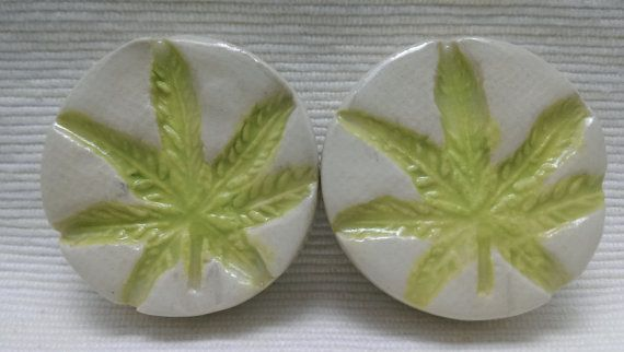 PLUGS GAUGES TUNNELS  1 1/2 38 mm Cannabis Leaf  by CagwinManchen