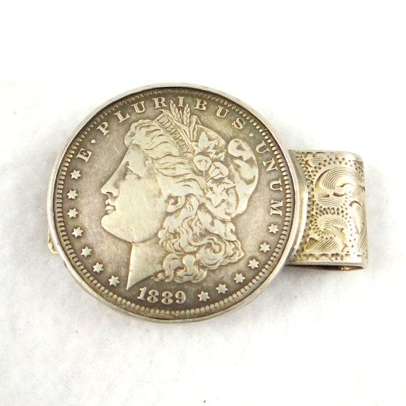 Rare 1889 O Morgan Silver Dollar Sterling Money Clip with Saint Christopher Medal.