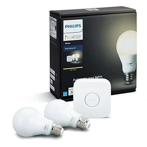 Philips Hue White Smart Bulb Starter Kit  Enhance your home with soft white lighting, controlled remotely wherever you are. Set timers and light schedules, automating your lights to make it seem like someone is home even when you are away.With everything you need to get started, this easy-to-use kit comes with two A19 LED smart bulbs, able to fit standard table lamps and the Philips Hue Bridge that can control up to 50 lights.Install the LED lights as you would install ordinary bul..