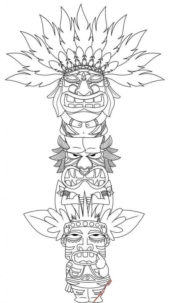 TOTEM POLE colouring pages FREE download from BEST COLORING PAGES for KIDS.