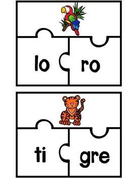 SPANISH PUZZLE FOR 2 SYLLABLE WORDS (ROMPECABEZAS PARA PALABRAS DE 2 SILABAS) Temas incluyen: animales, comida, ropa, tiempo, insectos, y objetos.