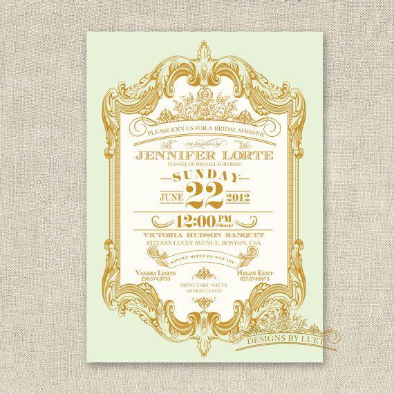 Pink and Gold - Mint and Gold Baroque Bridal Shower Invitation - Wedding Shower Invitation - DIY Printable - Digital Invitation File