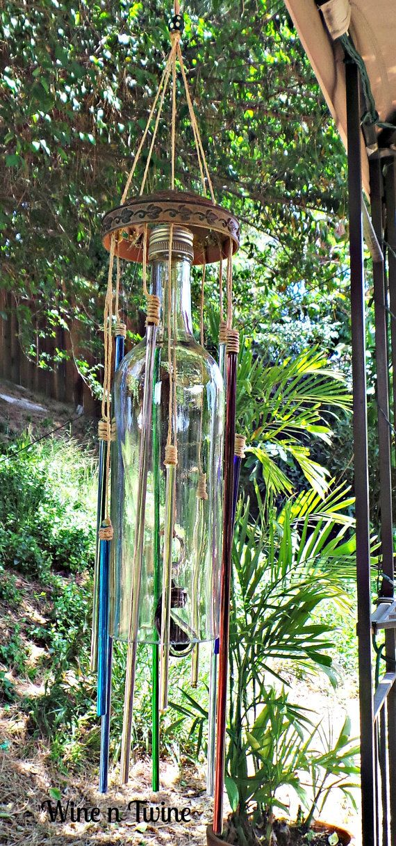 Wine bottle wind chime with glass rods for Glass bottle wind chimes