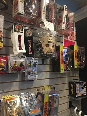 Merchandise from filmmaker Kevin Smith's films, comics, and TV series is available in his Jay and Silent Bob's Secret Stash comic book & novelty store in Red Bank, New Jersey. Photo by my girlfriend Stephanie.