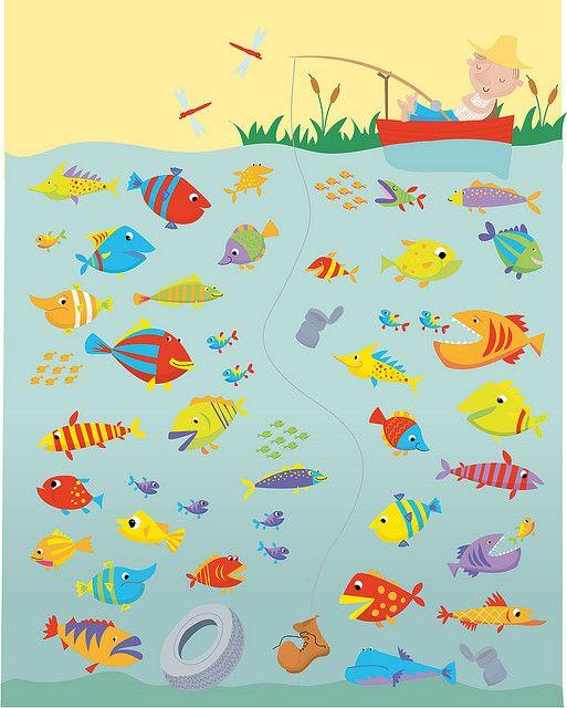 bijvoeglijke naamwoorden gebruiken om de vissen te beschrijven