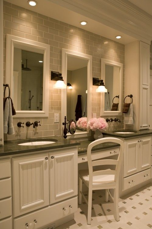 faucets are mounted on wall so it's easier to keep clean: Mirror, Bathroom Design, Subway Tile, Masterbath, Vanities, Dreams Bathroom, Sinks, Bathroom Ideas, Master Bathroom