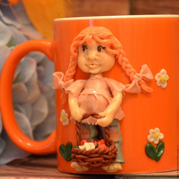 """Купить Кружка с декором из полимерной глины """"Маленькая дачница"""" - рыжий, полимерная глина, кружка, подарок"""